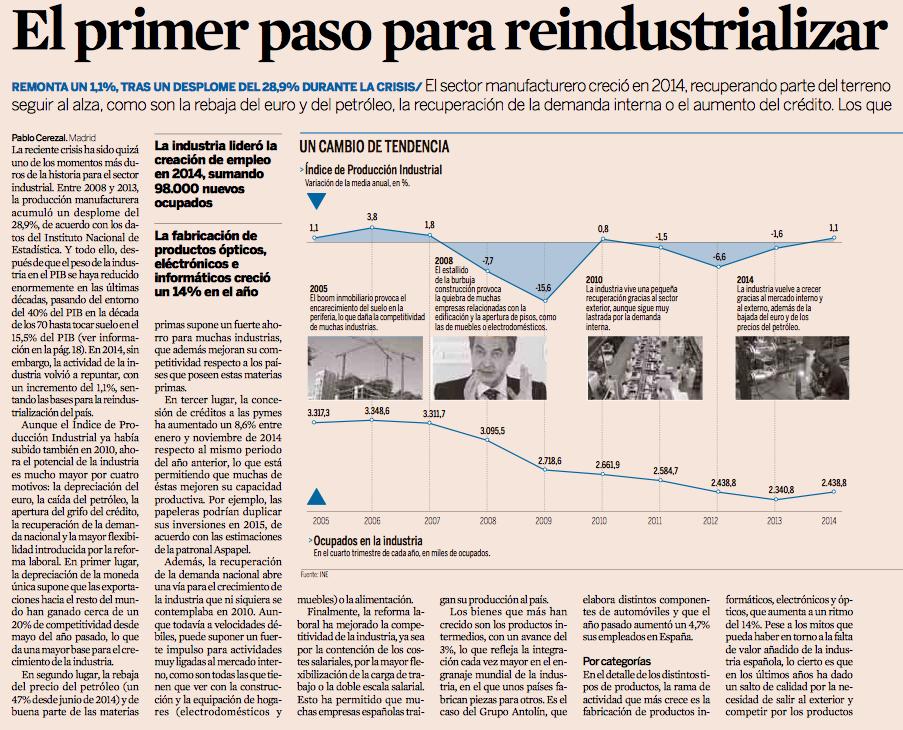 La industria española crece por primera vez en siete años