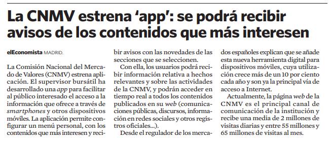 La CNMV estrena 'app': se podrá recibir avisos de los contenidos que más interesen