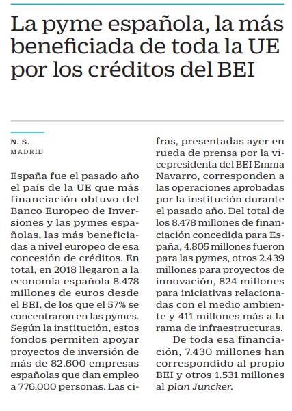 La pyme española, la más beneiciada de toda la UE por los créditos del BEI