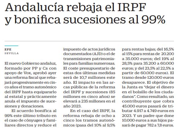 Andalucía rebaja el IRPF y bonifica sucesiones al 99%