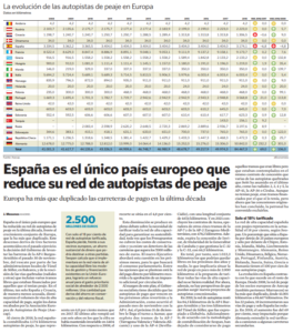 España es el único país europeo que reduce su red de autopistas de peaje