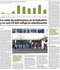 La caída de autónomos en la Industria y en seis CCAA refleja la ralentización