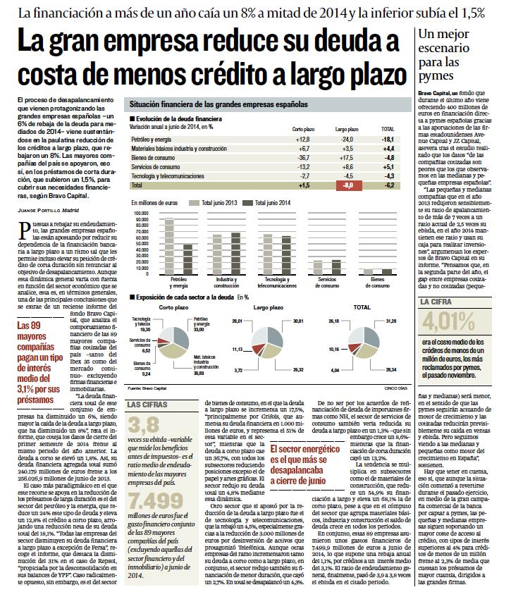 La gran empresa reduce su deuda a costa demenoscrédito a largo plazo
