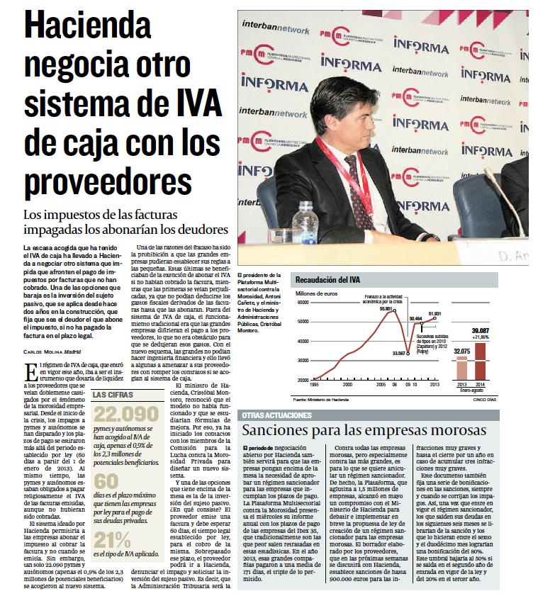 Hacienda negocia otros sistema de IVA de caja con los proveedores