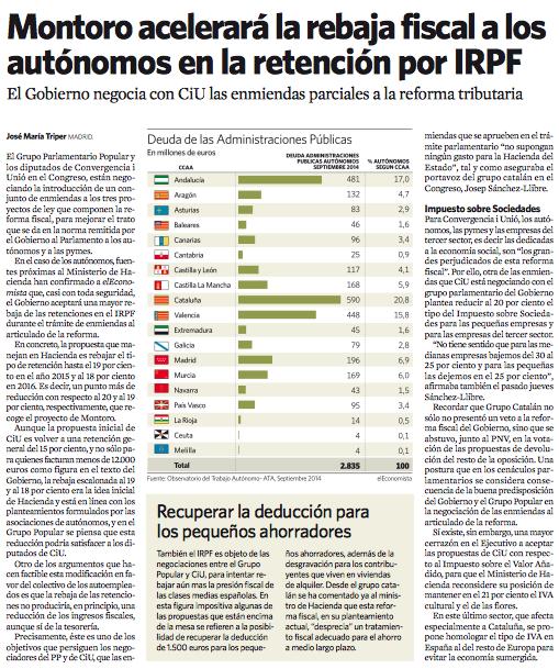 Montoro acelerará la rebaja fiscal a autónomos en la retención por IRPF